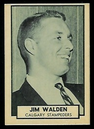 Jim Walden 1962 Topps CFL football card
