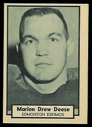 Toby Deese 1962 Topps CFL football card