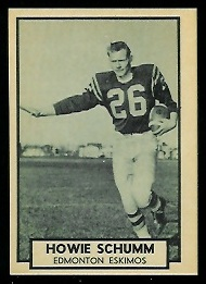 Howie Schumm 1962 Topps CFL football card