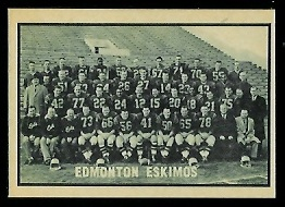 Edmonton Eskimos Team 1962 Topps CFL football card