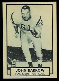 John Barrow 1962 Topps CFL football card