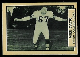 Mike Cacic 1962 Topps CFL football card