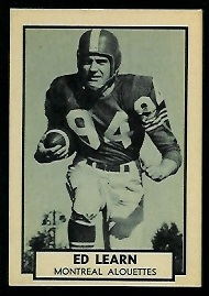 Ed Learn 1962 Topps CFL football card