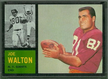 Joe Walton 1962 Topps football card