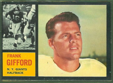 Frank Gifford 1962 Topps football card