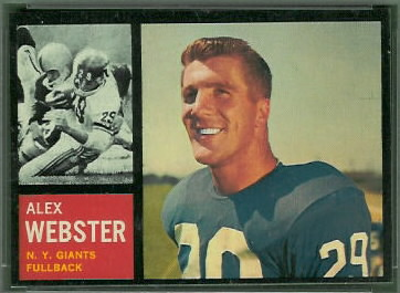 Alex Webster 1962 Topps football card
