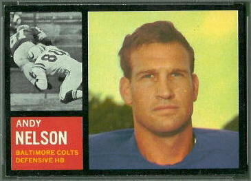 Andy Nelson 1962 Topps football card
