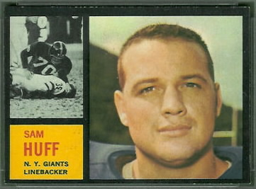 Sam Huff 1962 Topps football card