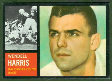 Wendell Harris 1962 Topps football card