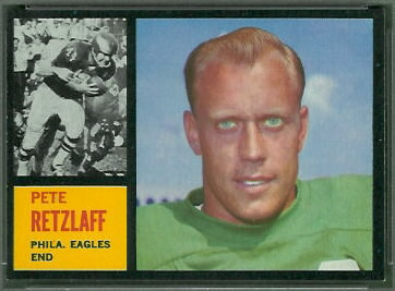 Pete Retzlaff 1962 Topps football card