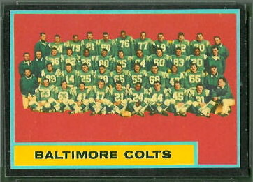 Colts Team 1962 Topps football card