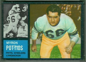 Myron Pottios 1962 Topps football card