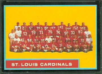 St. Louis Cardinals Team 1962 Topps football card
