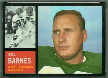 Bill Barnes 1962 Topps football card