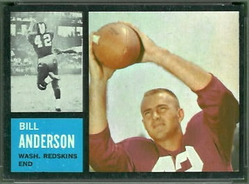 Bill Anderson 1962 Topps football card