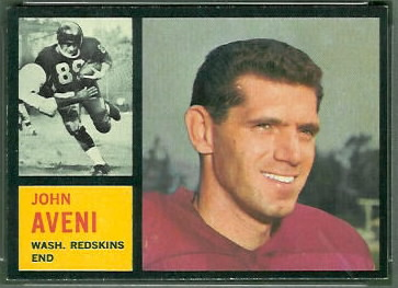 John Aveni 1962 Topps football card