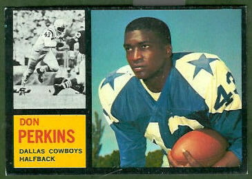 Don Perkins 1962 Topps rookie football card