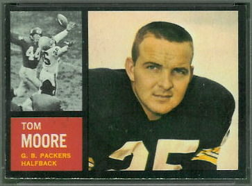 Tom Moore 1962 Topps football card