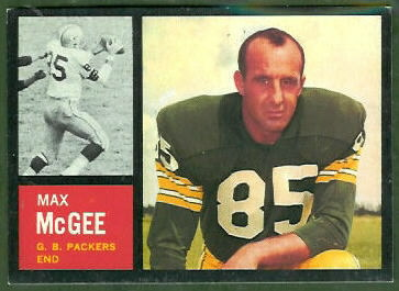 Max McGee 1962 Topps football card