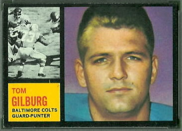 Tom Gilburg 1962 Topps football card
