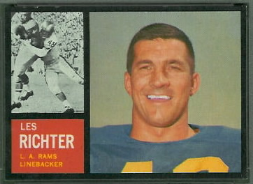 Les Richter 1962 Topps football card