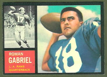 1962 Topps Roman Gabriel rookie football card