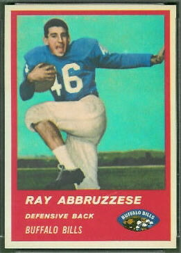Ray Abruzzese 1963 Fleer rookie football card