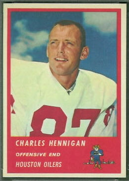Charlie Hennigan 1963 Fleer football card