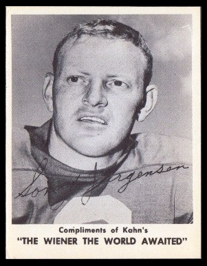 Sonny Jurgensen 1963 Kahns football card