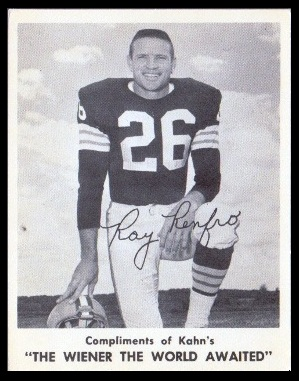 Ray Renfro 1963 Kahns football card