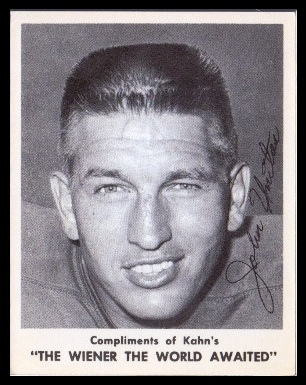 Johnny Unitas 1963 Kahn's Wieners football card