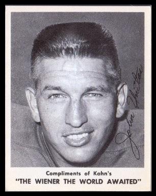 Johnny Unitas 1963 Kahn's Wieners football card