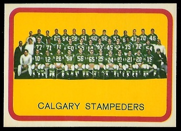 Calgary Stampeders Team 1963 Topps CFL football card