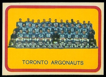 Toronto Argonauts Team 1963 Topps CFL football card