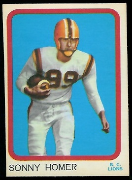 Sonny Homer 1963 Topps CFL football card
