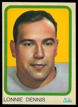 Lonnie Dennis 1963 Topps CFL football card