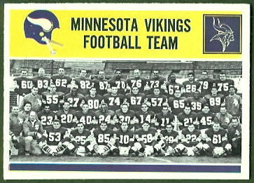 Vikings Team 1964 Philadelphia football card