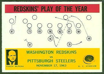 Redskins Play of the Year 1964 Philadelphia football card