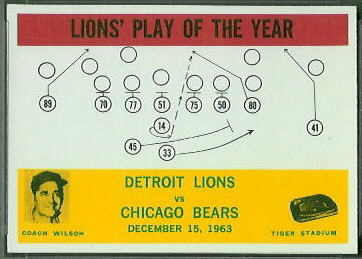 1964 Philadelphia Lions Play of the Year football card