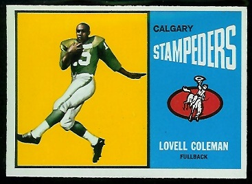 Lovell Coleman 1964 Topps CFL football card