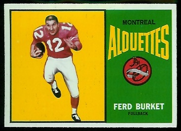 Ferd Burket 1964 Topps CFL football card