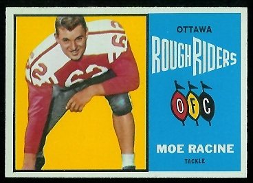 Moe Racine 1964 Topps CFL football card