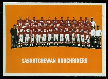 1964 Topps CFL Saskatchewan Roughriders team card
