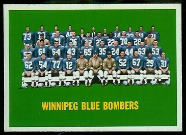 Winnipeg Blue Bombers Team 1964 Topps CFL football card