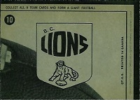 back of 1964 Topps CFL BC Lions football card