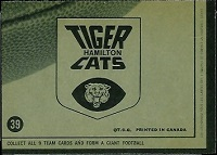 back of 1964 Topps CFL Hamilton Tiger-Cats football card