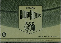 back of 1964 Topps CFL Ottawa Rough Riders football card