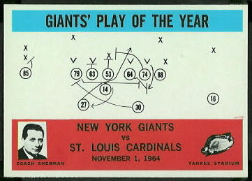 1965 Philadelphia Giants Play of the Year football card