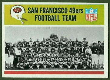 San Francisco 49ers Team 1965 Philadelphia football card