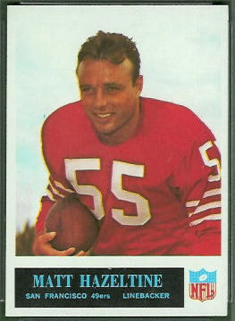 Matt Hazeltine 1965 Philadelphia football card